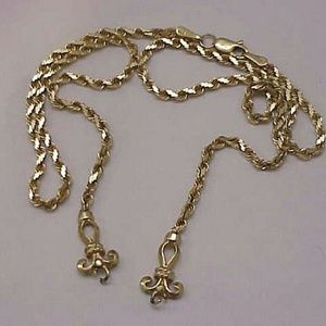 """Jewelry - Vintage 14k gold rope Lavaliere necklace 17"""" 11.1g"""