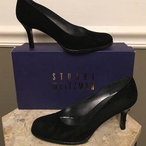 Black suede Stuart Weitzman pumps