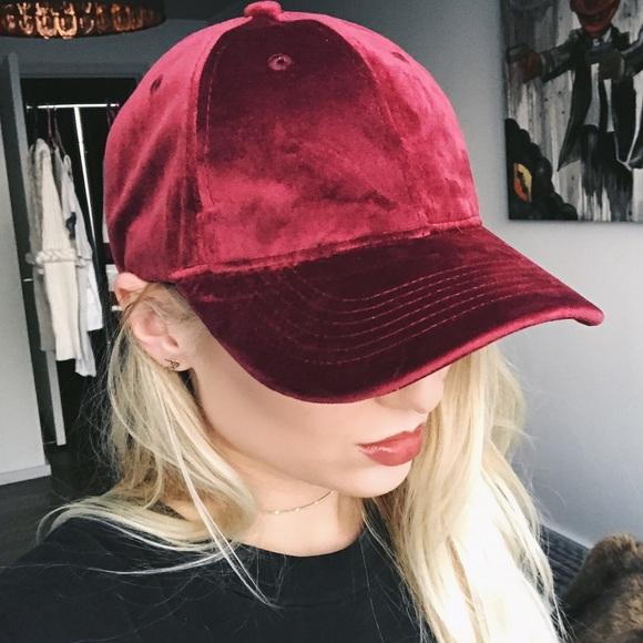 1036bfc4520 maroon velvet baseball cap •