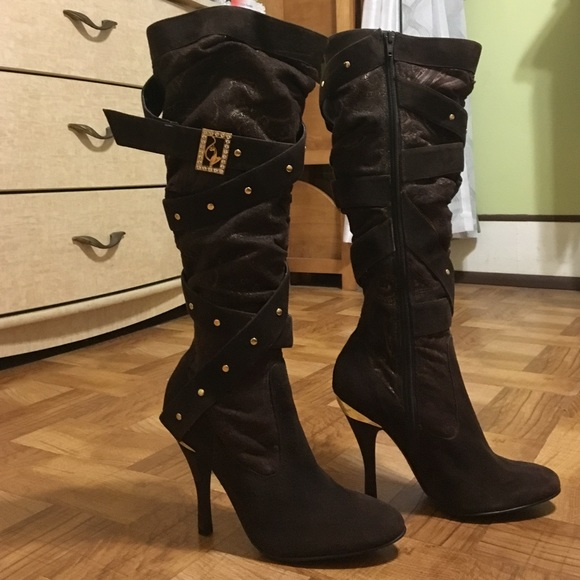 Baby Phat Shoes - Baby Phat boots 7 1 2 womens. Brown and Gold 81abd8064b