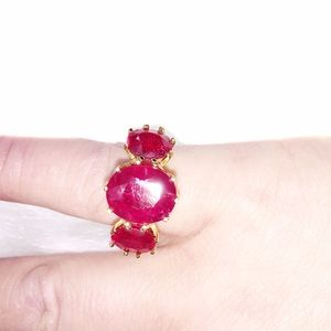 3 stone RUBY vermeil ring