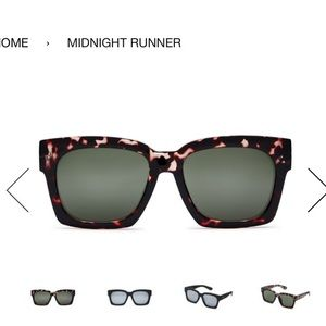 Quay midnight rubber tortoise and green sunnies