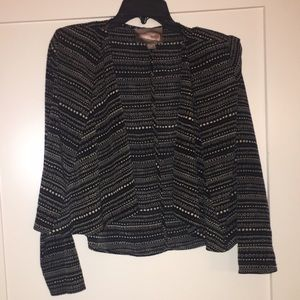 Black Tribal Print Open Blazer Jacket