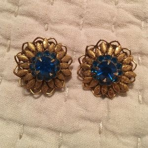 Vintage clip earrings, glass stones
