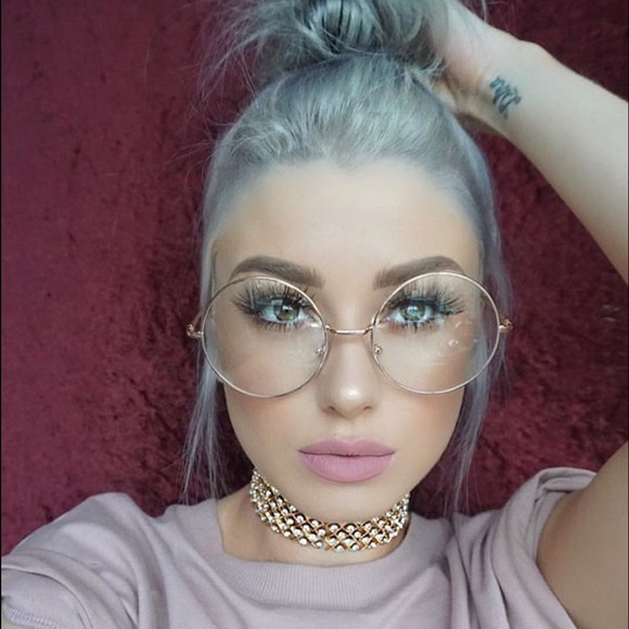 4b27c777dd OVERSIZED CLEAR CIRCLE GLASSES VINTAGE ROUND GOLD