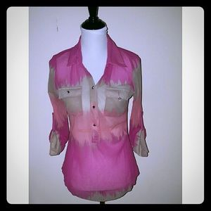 INC International Concepts Tops - 🎊SALE🎊INC Sheer Ombre Half Button Up Blouse