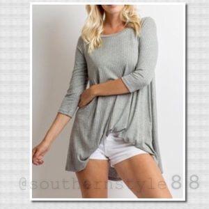 Boutique Tops - Heather Gray 3/4 Sleeves Tunic Medium BNWT