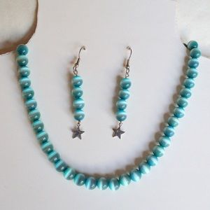 Necklace & earrings cats eye set in Turqoise