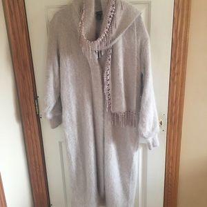 Jackets & Blazers - Pale pink angora long coat