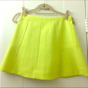 J.Crew neon yellow skirt
