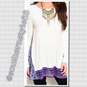 Boutique Tops - White with Purple Accent Top Small BNWT