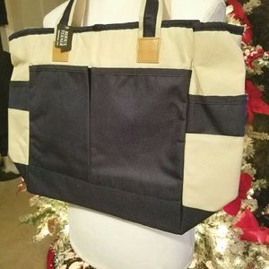 Cooler Blue and Ivory Tote Bag