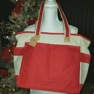 Cooler Red and Ivory Tote Bag