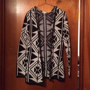 Aztec design cardigan with hood