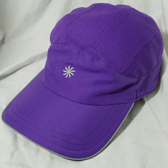 Athleta Accessories - ATHLETA Purple   Reflective Silver Nylon Ball Cap b36fa101b01
