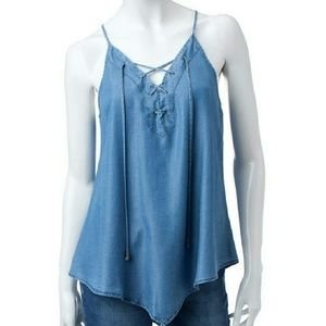 Heart Soul Chambray Lace Up Tank Top