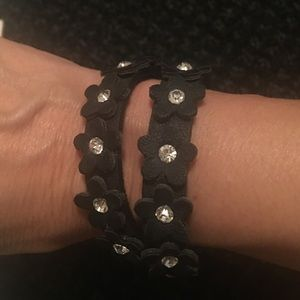 Leather and rhinestone double wrap bracelet