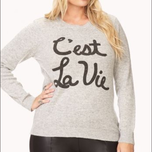 Forever 21 Sweaters Cest La Vie Sweater Poshmark