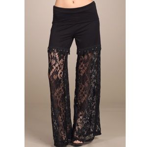 CLEARANCE Chatoyant Black Lace Palazzo Pants