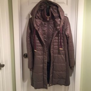 Women's Full Length T Tahari Hooded Puffer Coat