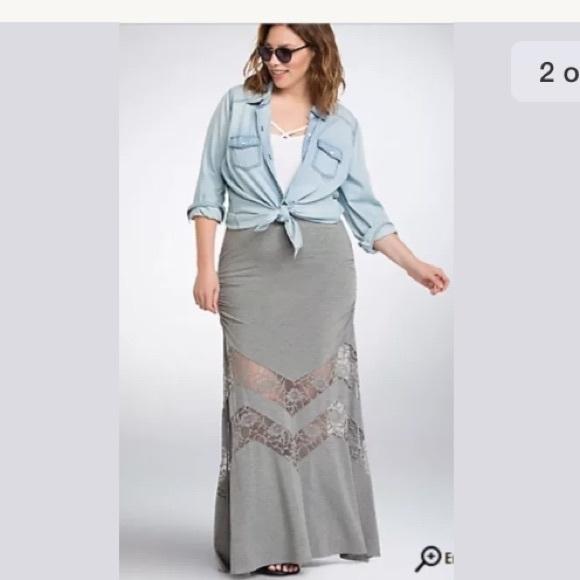 NEW Torrid Maxi Skirt Lace Insert Size 3X Gray