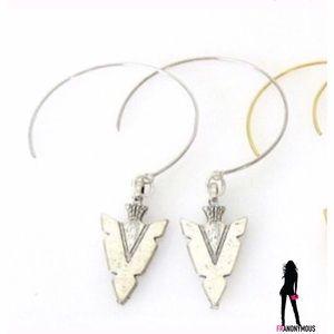Silver Tone Open Hoop Arrowhead Earrings