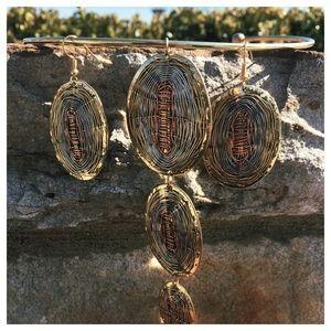 Brass Wire Wrapped Choker Necklace & Earrings