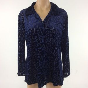 Notations Tops - Beautiful Navy Swirl Top