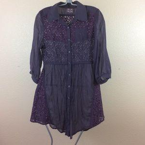 FREE PEOPLE Purple Lace Tunic sheer