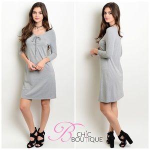 Bchic Dresses & Skirts - Gray Lace Up Dress