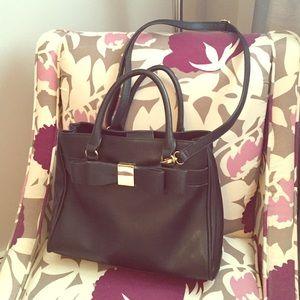 Crossbody black bow bag