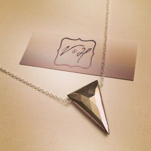 Faceted Pyrite Inverted Triangle Necklace