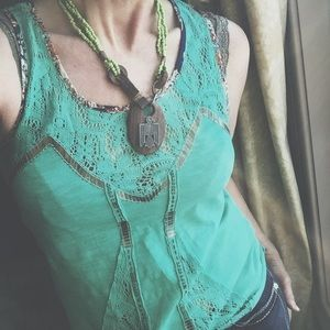 BKE Tops - Lace & Brass tone Beaded Top