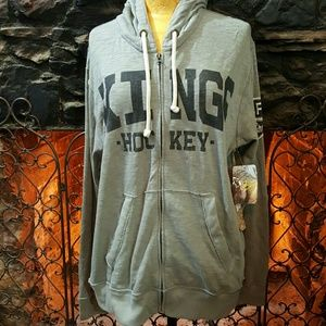 47 Other - NWT 47 distressed LA Kings hooded sweat jacket