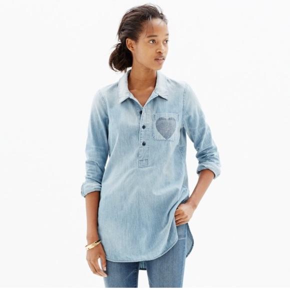 189517d5c1453b NWT Madewell Chambray Shirt w heart pocket