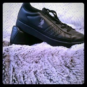 Black leather USPA walking shoes