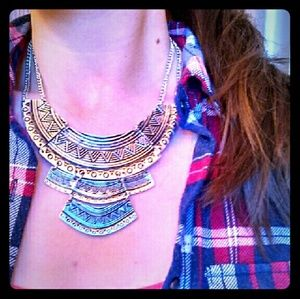 Tribal Three Tier Silver Tone Statement Necklace