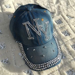 Hype Accessories - NY baseball hat blue jean silver bling denim cap