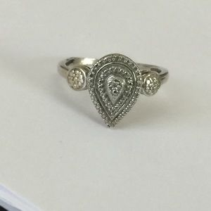 Jewelry - Sterling Diamond Accent Designer Tear Drop Ring