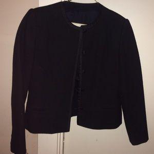 La Mode Rope' Mademoiselle Jackets & Blazers - Black Wool Blazer w Silk Coverlet Buttons Sz S