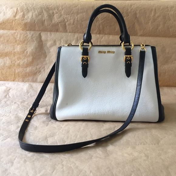98b6dba4df0 Miu Miu leather madras bicolor bag. M 585185638f0fc40d250c4225