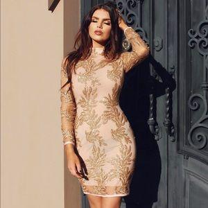 house of cb Dresses & Skirts - Astraea gold hand embellished bandage mesh dress