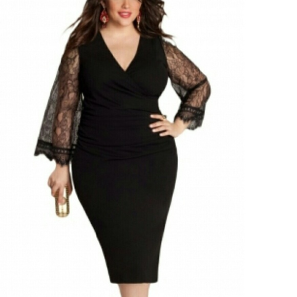 f3869f919b9 Eyelash Flared Sleeves Black Plus Size Dress