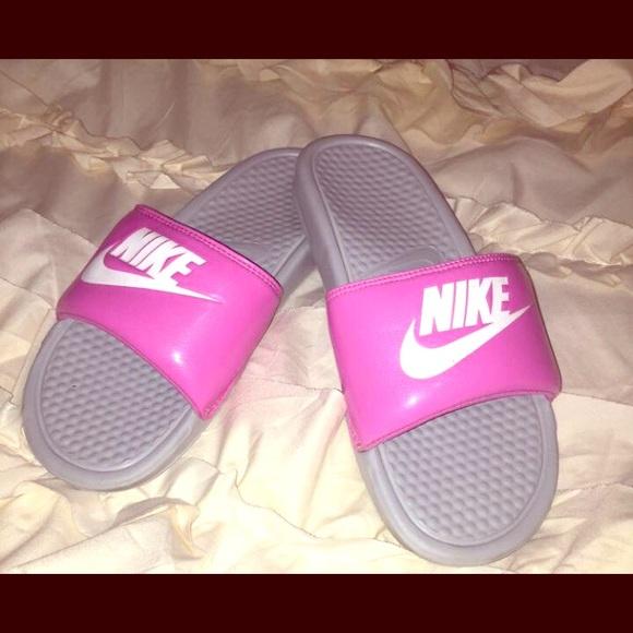 Nike Slides Size 8 Pink Grey   Poshmark