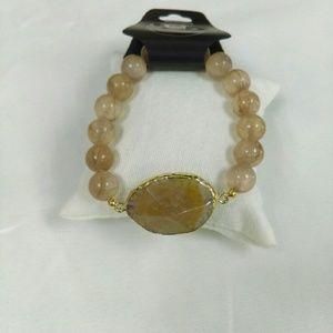 Deja Vous Jewelry - NWT  Genuine Agate Slice Stretch Bracelet