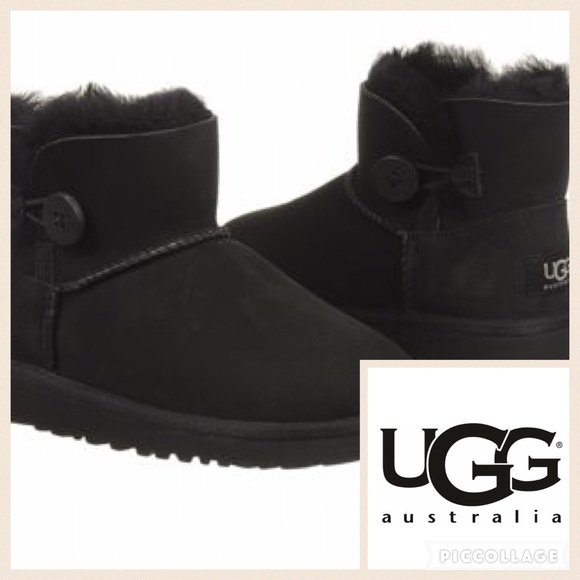 ❄KIDS!! Ugg Mini Bailey Button Toddler Boot/Blk/11