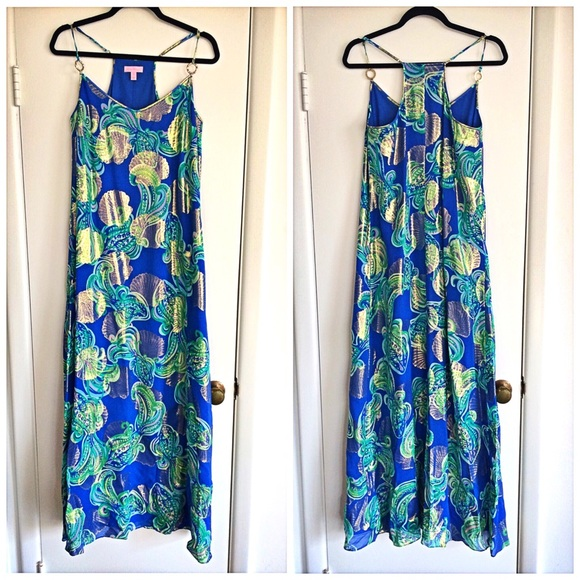 e050fd215f Lilly Pulitzer Dresses & Skirts - LILLY PULITZER Blue/Gold Sea Shells Maxi  Dress 🐚