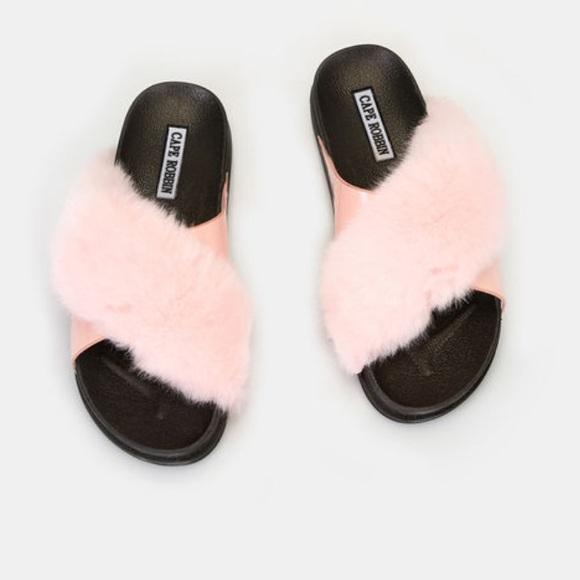 3715ffe5 Shoes | Faux Fur Crossstrap Sandals In Pink | Poshmark