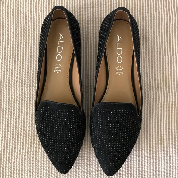 6a8aab2d59f ALDO Black Studded Loafer Flats
