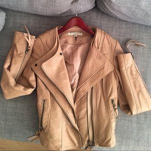 Twenty8Twelve Jackets & Blazers - Super cool peachy beige leather biker jacket sz 8